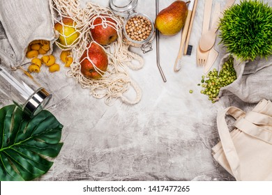 Use less plastic concept. Eco freindly, zero waste background. Fabric bags, glass jars, metal straws on white background. Copy space