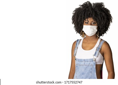 the use of medical mask as a prevention against covid-19 coronavirus young african brazilian beauty girl