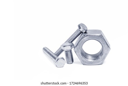 Use  the right man on the right job concept, wrong tool for the job do not work idea, Nut and bolts on white background