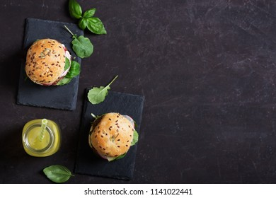 Use spices and herbs to make delicious vegetarian burgers for lunch or dinner. Flat lay with copy space