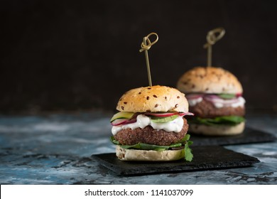 Use spices and herbs to make delicious vegetarian burgers for lunch or dinner. Vegetarian food make people healthier