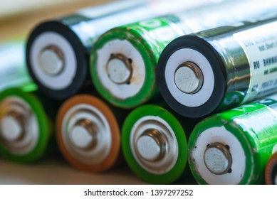 a lot of used accumulator battery