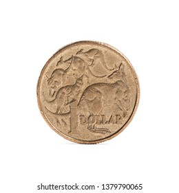 Used australian one dollar coin with cangaroos on it