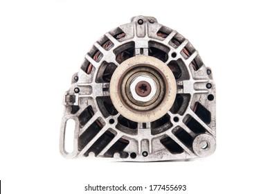 Used Automotive Alternator isolated on white
