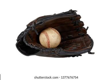 Used baseball and baseball glove isolated on white