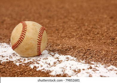 Used Baseball on the Infield Chalk Line