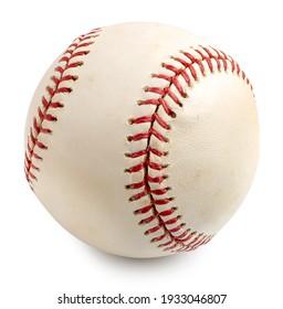 白い背景に古い野球とシーム。 切り取り線