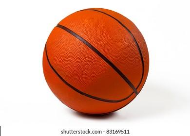 Used basketball isolated on white background