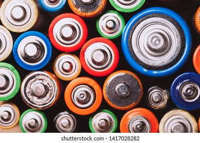 used batteries and accumulators. Ecology ang recycling concept. Close up