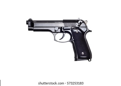 Used black metal 9mm pistol gun on white background