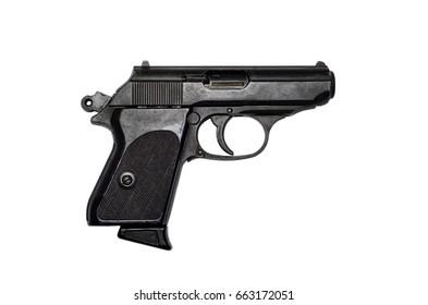 Used black metal pistol gun on white background