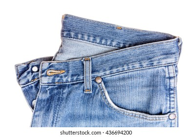 used blue jeans isolated on white background