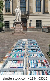 Used books on sale of a flee market in front of the University in Berlin, Germany.