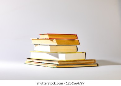 Used books on white background