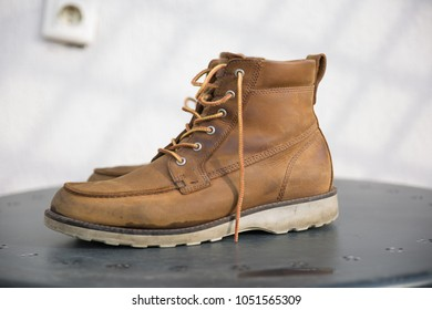 used boots on the table