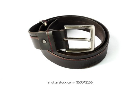 Used Brown Leather Men Belt on White Background