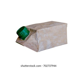 Used Brown milk carton is crumple isolated on white background