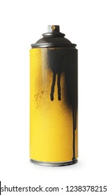 Used can of spray paint on white background