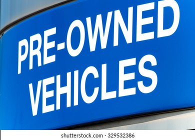 Used car lot sign Pre Owned Vehicles