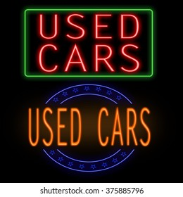 Used cars glowing neon sign on black background