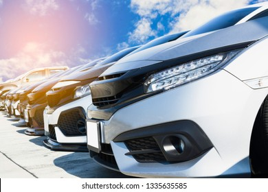 Used cars, parked in the parking lot of Dealership waiting to be sold and delivered to customers and waiting for the auction with the trading concept and auction in Automotive Industry