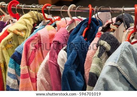 7c0e614e7323 Used Children S Clothes Sale Bazaar Stock Photo (Edit Now) 596701019 ...
