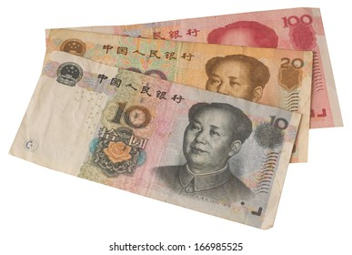 used chinese notes in white background
