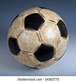 Used classic soccer ball. Color background
