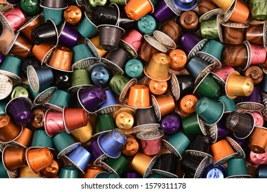 used coffee pods capsules background texture pattern