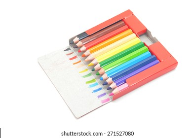 used color pencil in red box on white background