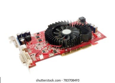 Used computer graphics card at the white background