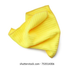 Used crumpled yellow rag isolated on white background