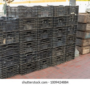 Used, dirty crates at a farmer's market