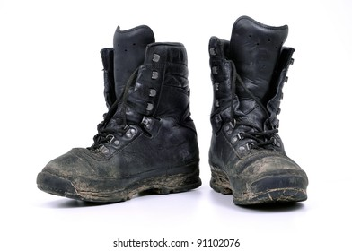 used, dirty military boots from Polish army