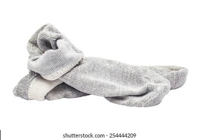 used dirty sock gray isolated on white background.