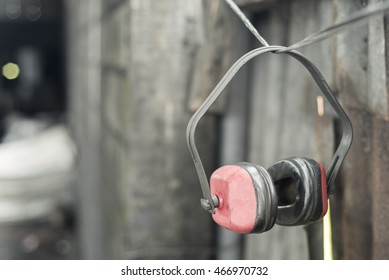 Used ear portectors in the dirty workshop