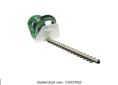 Used electrical hedge clippers with black blades and green engine case isolated on white background