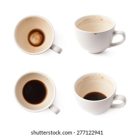 Used empty cup of coffee covered with multiple stains, isolated over the white background, set of four foreshortenings