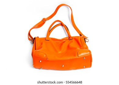 Used Female leather bag isolated on white background.Women bag isolated on white.