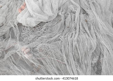 Used fishing net with floaters
