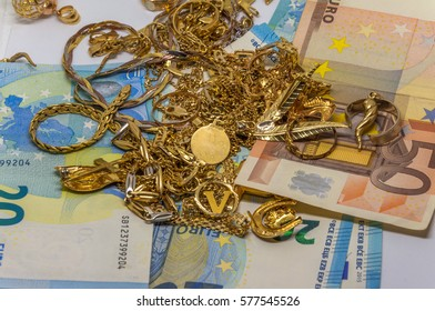 Used gold and euro bills