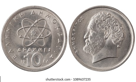 Used Greek 10 drachmas, 1987. Vintage steel coin with Democritus portrait isolated on white.