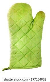 Used green heat protective mitten isolated on white