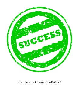 Used green success business stamp, isolated on white background.