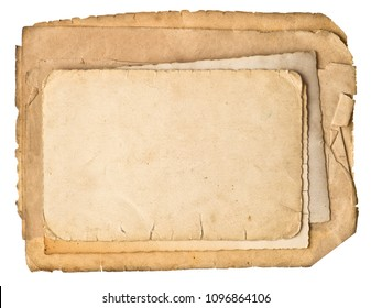 Used grungy paper sheets isolated on white backgroun. Old paper