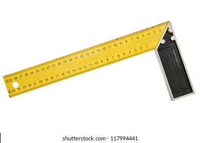 Used iron ruler with angle bar, set square. Isolated on white background