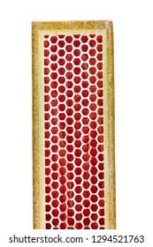 used match box, close up shot, isolated on white