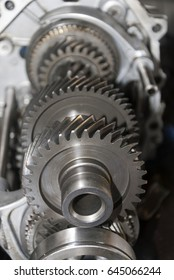 Used mechanical motor cogs, mechanical work detail.