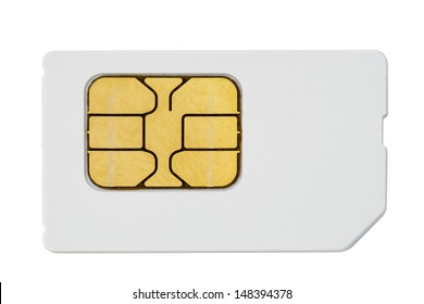 used mobile phone sim card macro isolated on white
