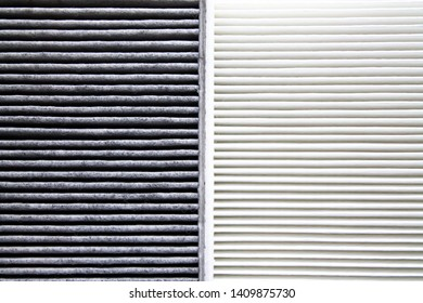 used and new automobile air filter background